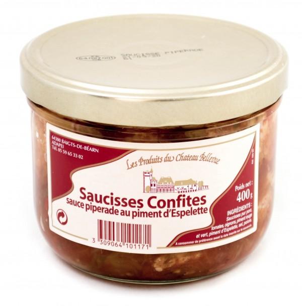 Saucisses Confites Sauce Piperade